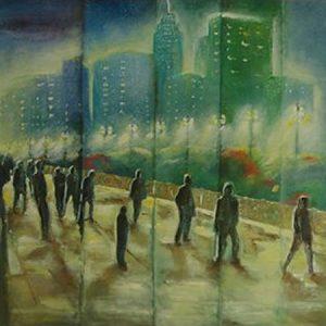 Pedestres sobre o Viaduto